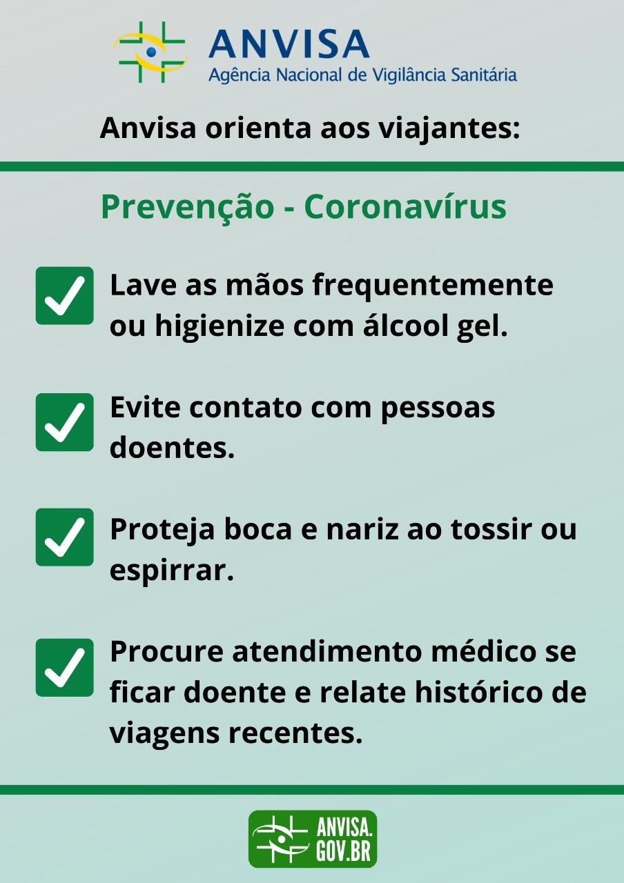 (CORONAVÍRUS) Setor de Promoção à Saúde da CQV/PROSIS divulga orientações da Agência Nacional de Vigilância Sanitária (ANVISA)